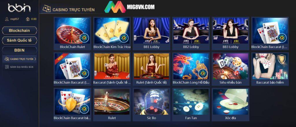 Các sảnh Casino tại BBIN