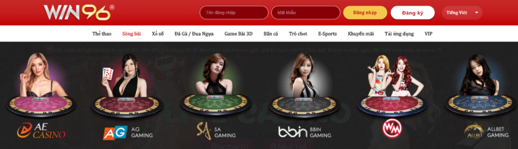 Các sảnh Casino tại WIN96