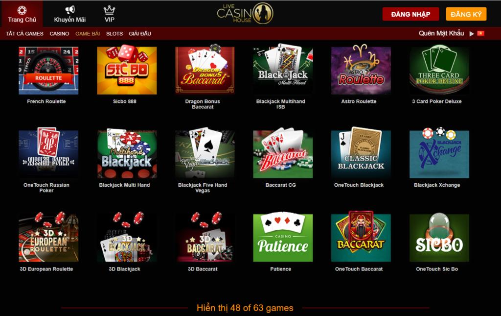 Game bài tại Live Casino House