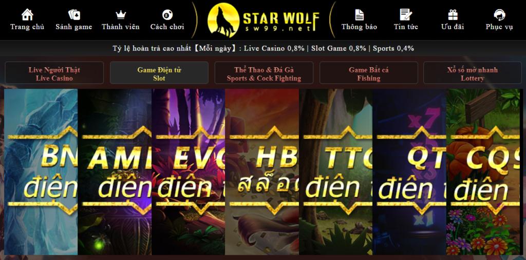Slot game tại Star Wolf