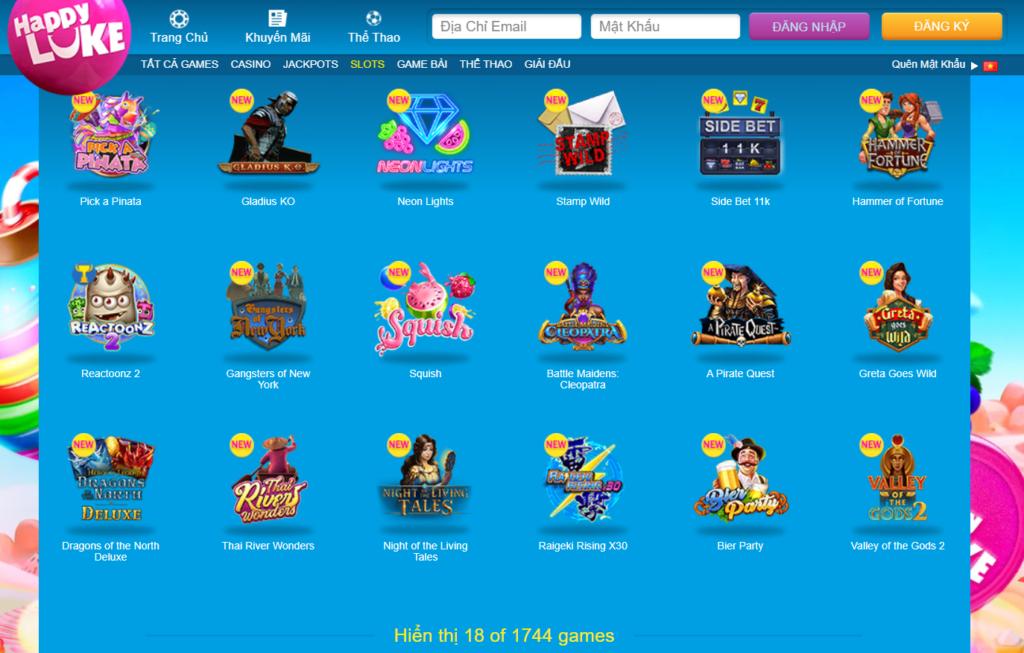 Slot game tại Happy Luke