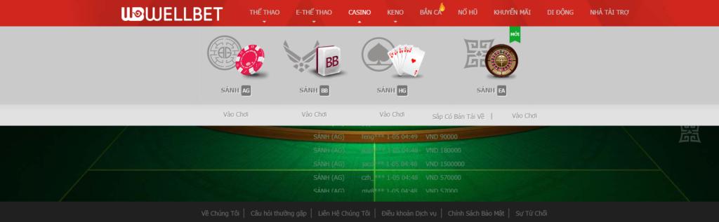 Casino tại Wellbet