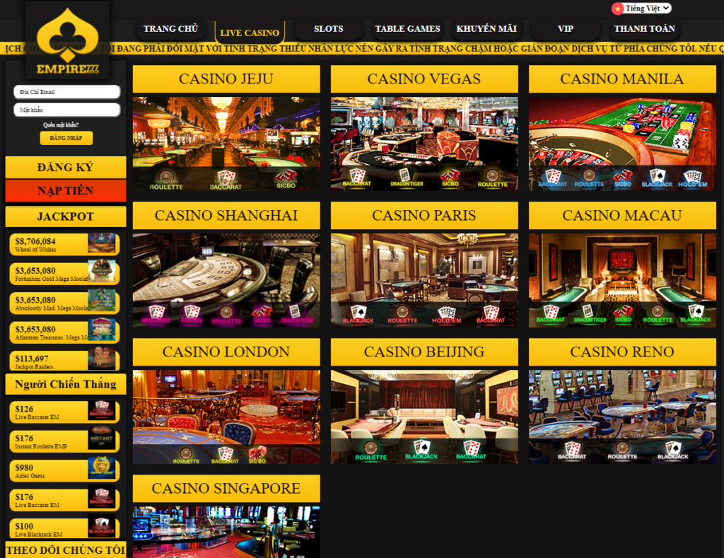 Live Casino tại Empire777