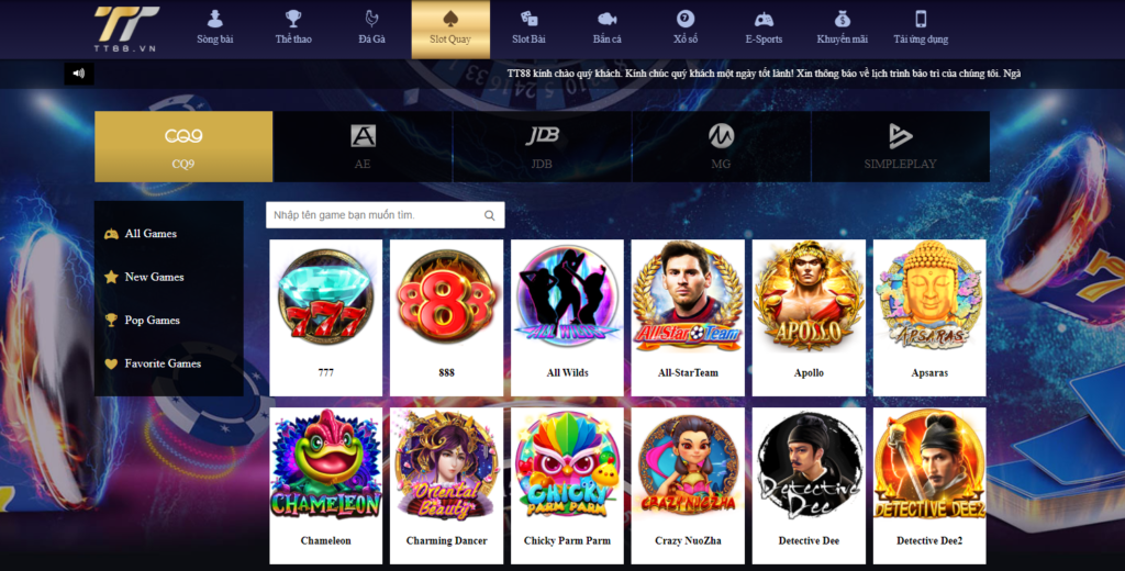 Slot game tại TT88