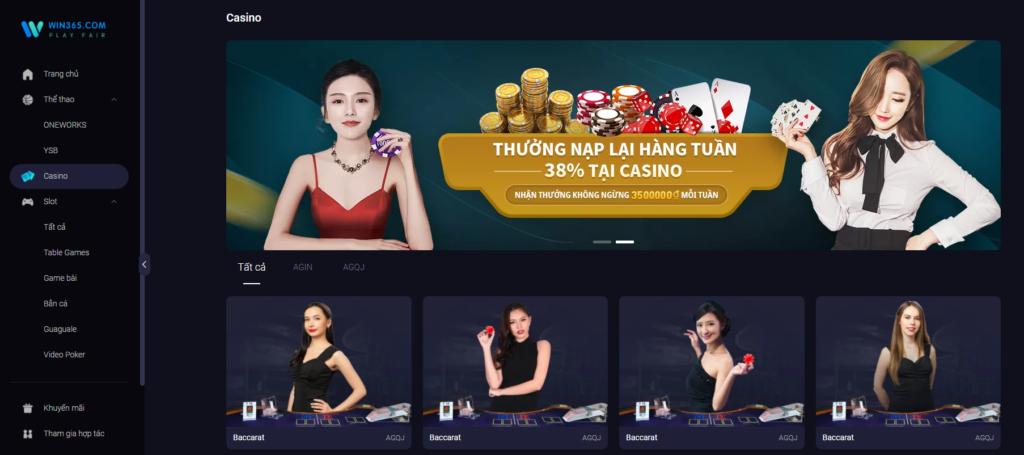 Casino tại Win365